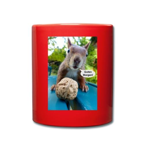 Guten-Morgen-Gruß vom Eichhörnchen - Tasse einfarbig