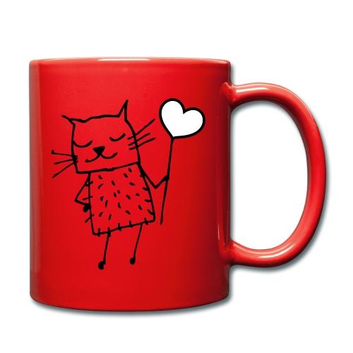 Katze mit Herz: Liebe - Tasse einfarbig