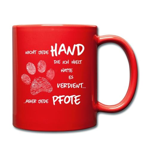 Hand Pfote Hund - Tasse einfarbig