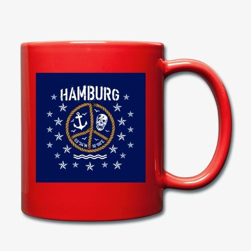 07 Hamburg Totenkopf Koordinaten Peace Anker Maske - Tasse einfarbig