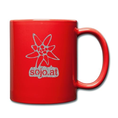 sojo.at Logo (Edelweiß und Sagzahn mit Schriftzug) - Tasse einfarbig