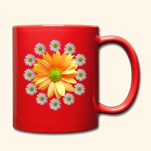 Margeriten mit einer orangen Chrysantheme, Blumen - Tasse einfarbig