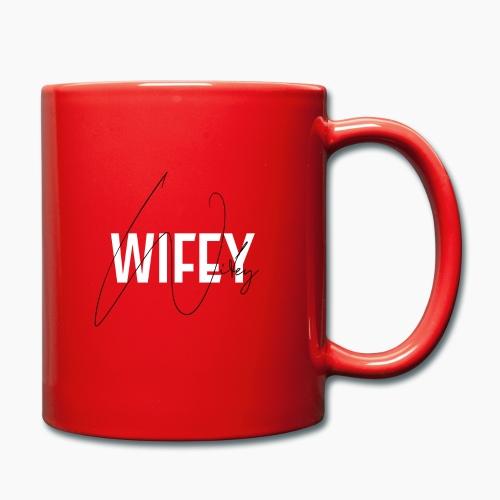 Wifey - Schrift auf rotem Hintergrund - Full Colour Mug