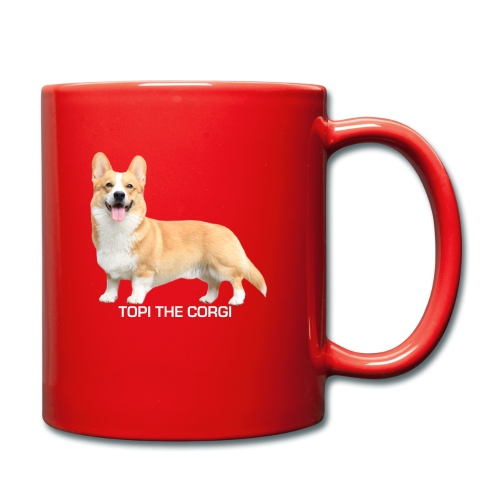 Topi the Corgi - White text - Full Colour Mug
