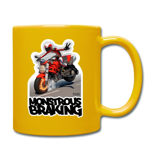Ducati Monster, a motorcycle stoppie. - Taza de un color