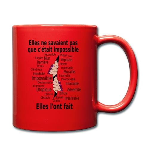 Impossible et fait Femmes mains Fond Clair - Mug uni