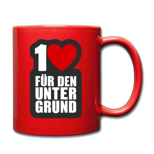 1 Herz für den Untergrund - Logo grau - Tasse einfarbig