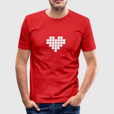 Pixel Love / pixel heart - Obcisła koszulka męska