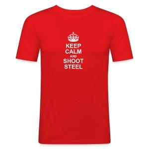 KEEP CALM and SHOOT STEEL - Männer Slim Fit T-Shirt