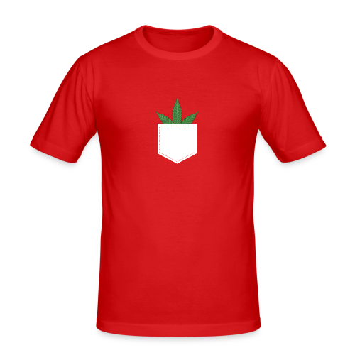 Brusttasche mit Marihuana / Cannabisblatt - Männer Slim Fit T-Shirt