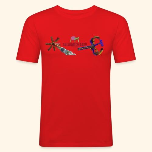 Logo groß mit Fahrgeschäften - Männer Slim Fit T-Shirt