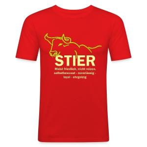 Stier Strich Gruen Text Gelb - Männer Slim Fit T-Shirt