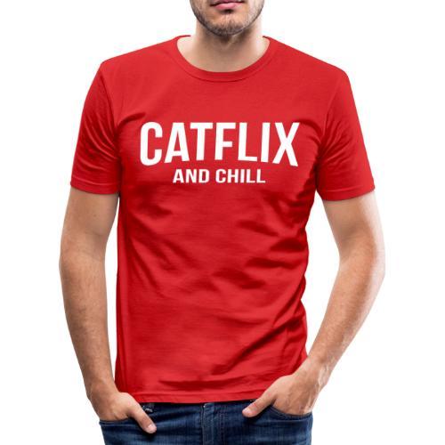 Catflix and Chill - Männer Slim Fit T-Shirt