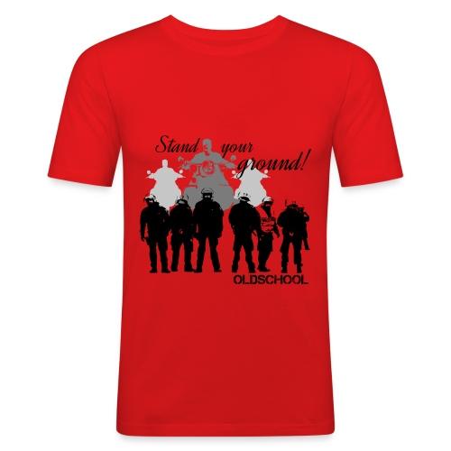 OLDSCHOOL Classic Stand your ground Biker - Männer Slim Fit T-Shirt