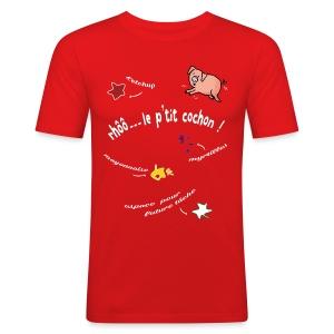 Rhoo le ptit cochon ! (version pour fond sombre) - Tee shirt près du corps Homme