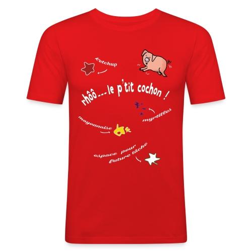 Rhoo le ptit cochon ! (version pour fond sombre) - T-shirt près du corps Homme