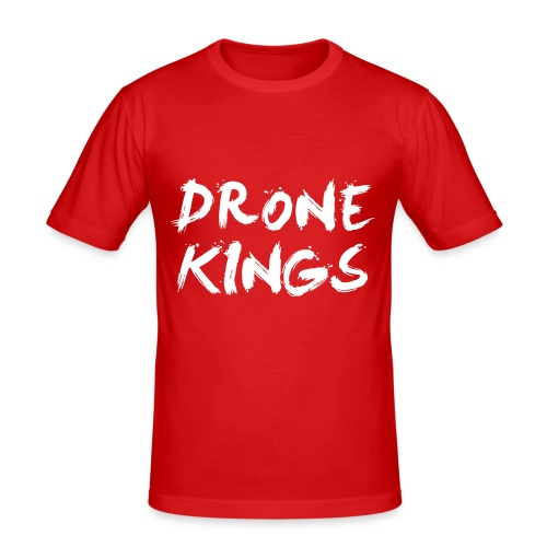 dronekings-whitetext-outlines - Slim Fit T-shirt herr