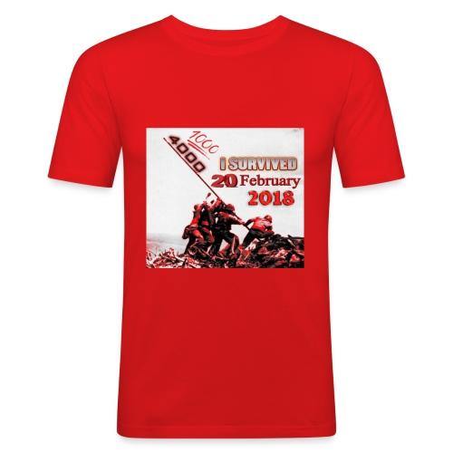 I survived february 20th red - Miesten tyköistuva t-paita