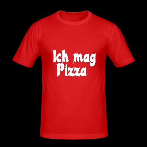Pizza Logo white - Männer Slim Fit T-Shirt