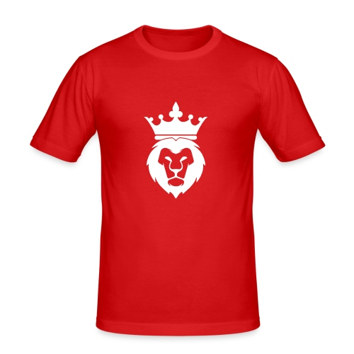 Lion_Logo_with_Crown_St--rre_bild_-white- - Slim Fit T-shirt herr