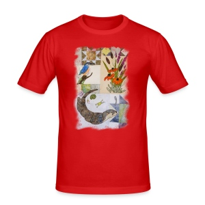 Otter and King Fisher in Grey Design - Men's Slim Fit T-Shirt