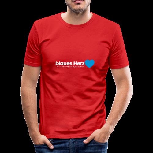 blaues Herz - Männer Slim Fit T-Shirt