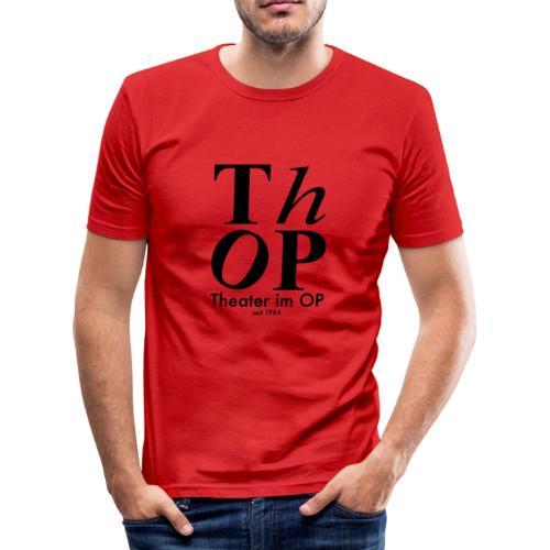 Grosses Logo SCHWARZ - Männer Slim Fit T-Shirt