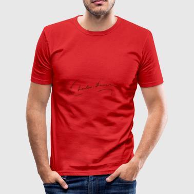 Charles Darwin Signatur - Slim Fit T-skjorte for menn