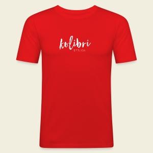 Logo Kolibri Design weiss - Männer Slim Fit T-Shirt
