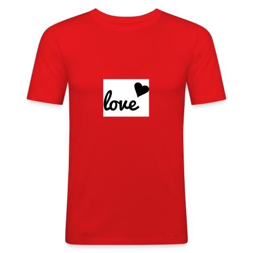 Handyhülle schwarz weiß love - Männer Slim Fit T-Shirt