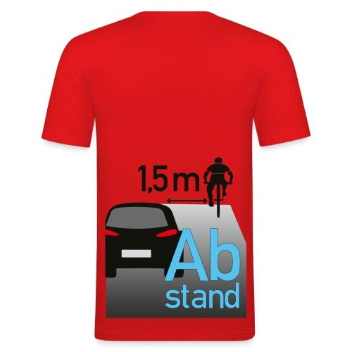 Auto zu Radfahrer - Abstand halten mind. 1,5m - Männer Slim Fit T-Shirt