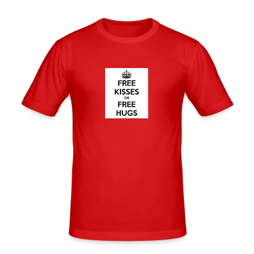 free kisses or free hugs - Mannen slim fit T-shirt
