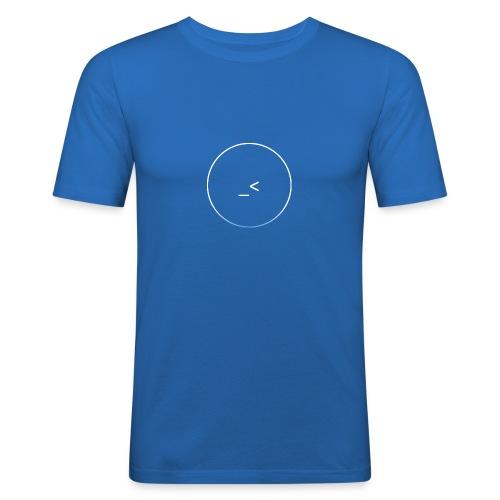 White and white-blue logo - Men's Slim Fit T-Shirt