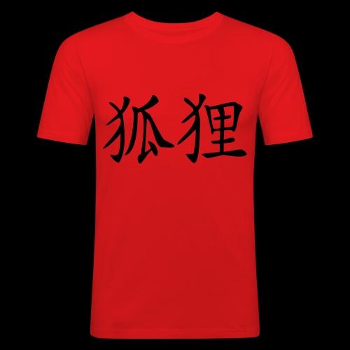Fuchs-Kanji - Männer Slim Fit T-Shirt