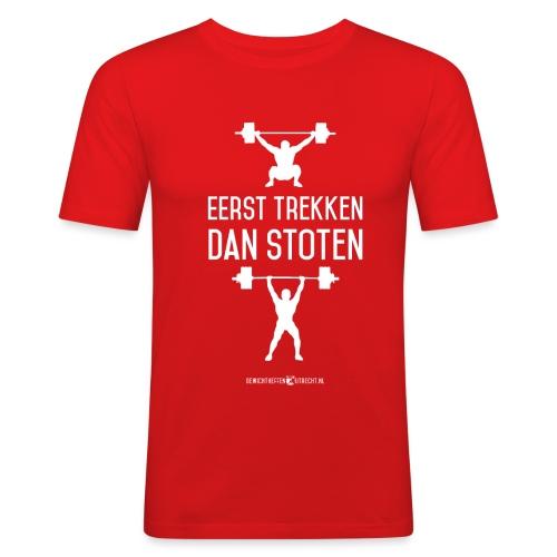 Gewichtheffen Utrecht Trekken Stoten Shirt - Mannen slim fit T-shirt