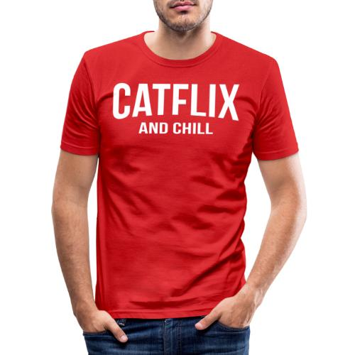 Catflix and Chill - Männer Slim Fit T-Shirt