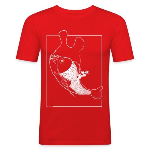 catching fish illustration white - Mannen slim fit T-shirt