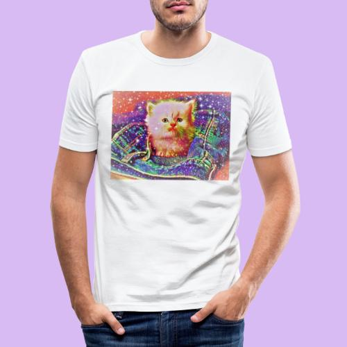 Gattino scintillante nella tasca dei jeans - Maglietta aderente da uomo