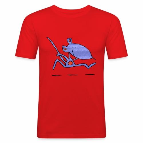 muis op de loop - Mannen slim fit T-shirt