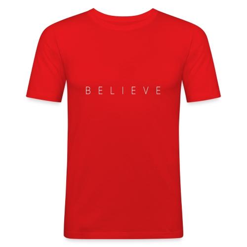 BELIEVE_TEXT - Maglietta aderente da uomo