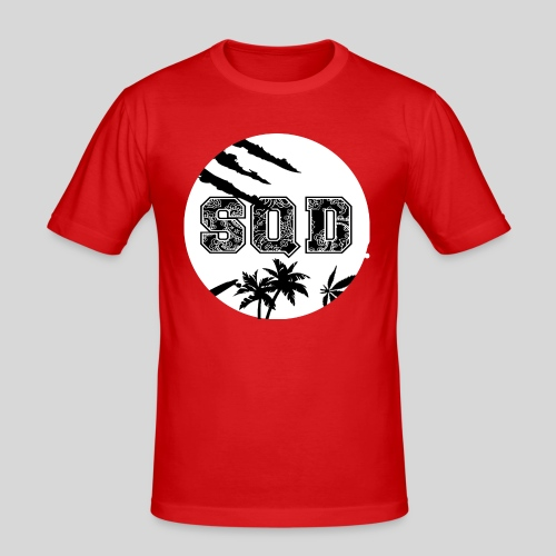 SQD tshirt logo wit - Mannen slim fit T-shirt