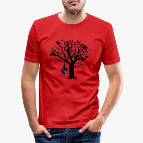 Musical Birds in Tree 2 blau Hangman Vinyl - Männer Slim Fit T-Shirt