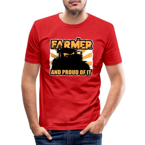 Farmer, and proud of it - Mannen slim fit T-shirt