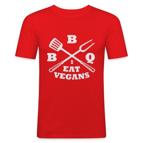 Barbecue je mange végétaliens - T-shirt près du corps Homme