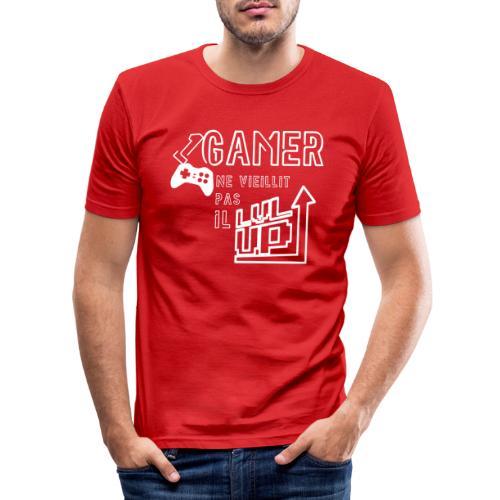 Gameur Manette Blanc - T-shirt près du corps Homme