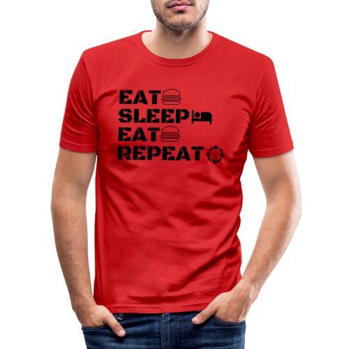eat sleep eat repeat - T-shirt près du corps Homme