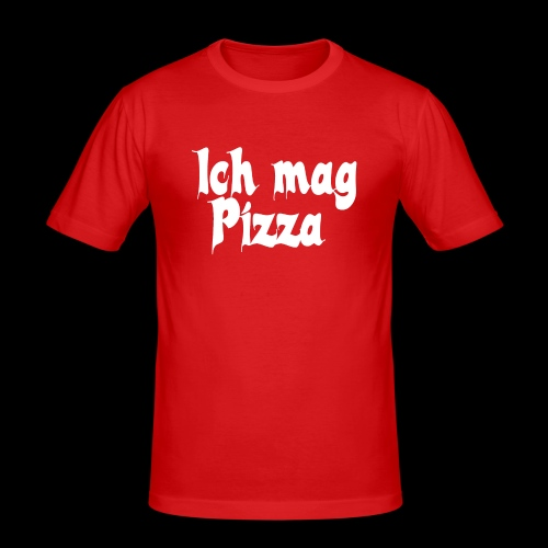 Pizza Logo white - Männer Slim Fit T-Shirt