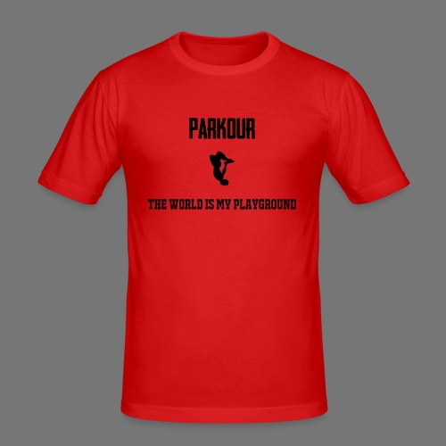 World is my playground - Mannen slim fit T-shirt