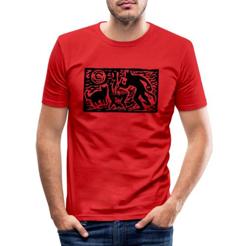 Teufel mit Katze - Männer Slim Fit T-Shirt