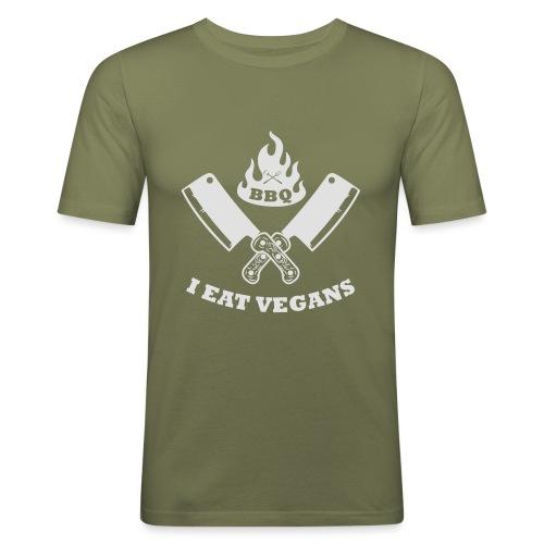 BBQ je mange végétaliens - T-shirt près du corps Homme